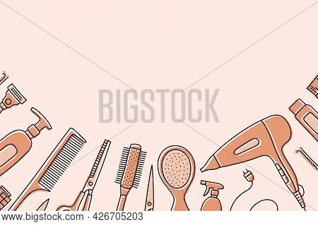 Hairdressing Tools Sketch With Copy Space. Professional Hair Dresser Equipment. Hand Drawn Vector Il