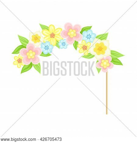 Floral Hairband On Stick As Party Birthday Photo Booth Prop Vector Illustration