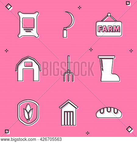 Set Fertilizer Bag, Sickle, Signboard With Text Farm, House, Garden Pitchfork, Waterproof Rubber Boo