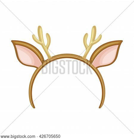Hairband With Deer Antlers As Party Birthday Photo Booth Prop Vector Illustration