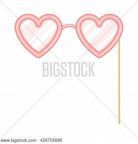 Pink Heart Shaped Eyeglasses As Party Birthday Photo Booth Prop Vector Illustration