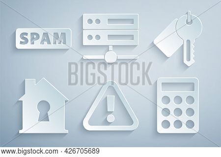 Set Exclamation Mark In Triangle, Marked Key, House Under Protection, Password, Server, Data, Web Ho