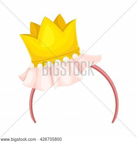 Hairband With Crown As Party Birthday Photo Booth Prop Vector Illustration