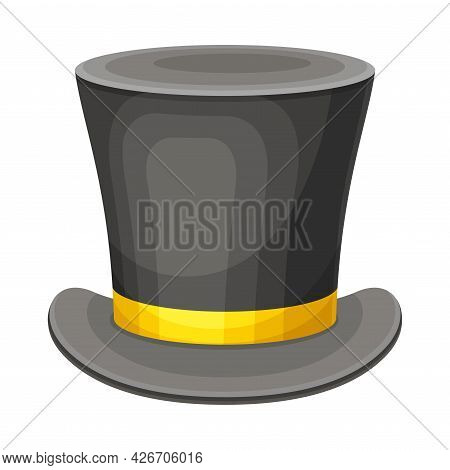 Top Hat With Yellow Ribbon As Party Birthday Photo Booth Prop Vector Illustration
