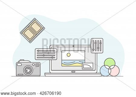 Photo Content Production With Camera And Photographic Material Line Vector Illustration