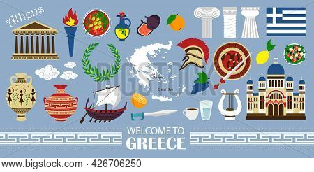 Welcome To Greece Travel Collection. Travel Concept Greece Landmark Flat Icons Design. Vector Illust