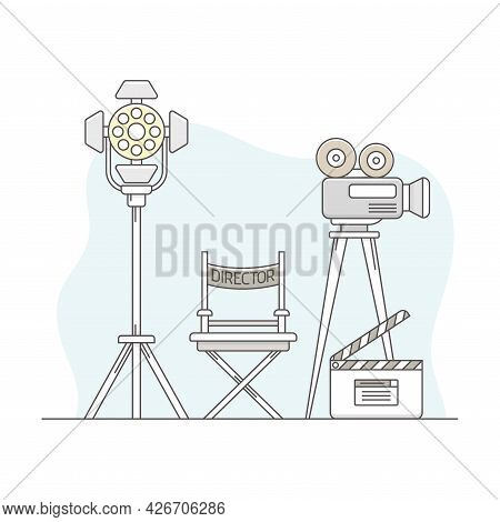 Video Content Footage Production In Filmmaking With Movie Camera And Director Chair Line Vector Illu