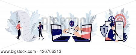 Electronic Contract Or Digital Signature Concept. Set Of Scenes With Entrepreneurs Making Deal. Conc