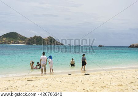 Okinawa, Japan - June 11,2019 : Unidentified People Enjoy The Summer Activities At Aharen Beach On T