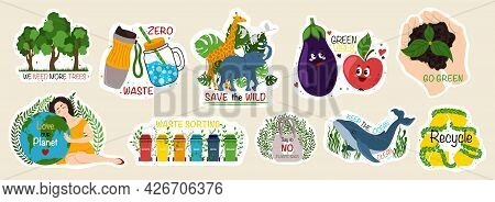 Collection Of Ecology Stickers With Slogans - Zero Waste, Recycle, Go Green, Love Our Planet, We Nee