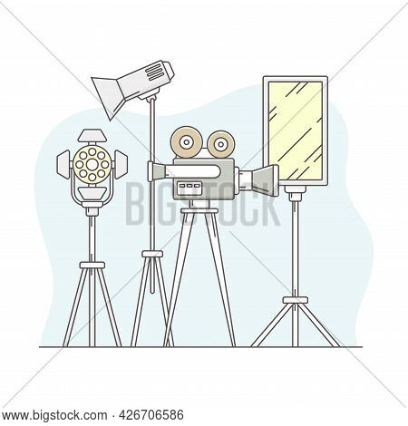 Video Content Footage Production In Filmmaking With Movie Camera And Motion Picture Record Line Vect