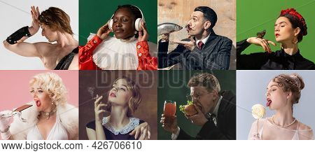Close-up Portraits Of Medieval People As A Royalty Persons In Vintage Clothing On Dark Background. C
