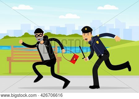 Man Police Officer Or Policeman With Truncheon Chasing Thief Escaping With Stolen Handbag Vector Ill
