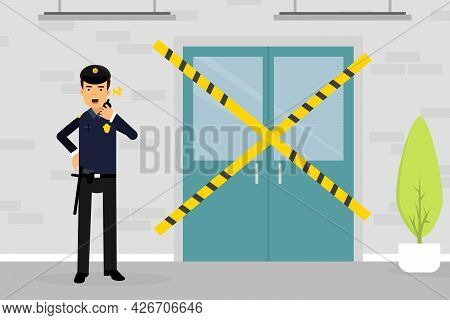 Man Police Officer Or Policeman With Walkie Talkie Standing Near Scene Of Crime Vector Illustration