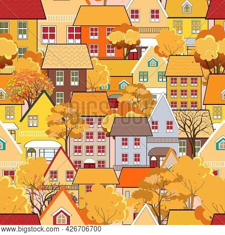 Seamless Pattern Autumn Cityscape In The Town With Fairy Tale Houses,trees In Orange And Yellow Leav