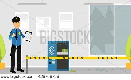 Man Police Officer Or Policeman With Truncheon Investigating Crime Scene Vector Illustration