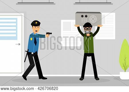 Man Police Officer Or Policeman With Pistol Trying To Stop Criminal Vector Illustration
