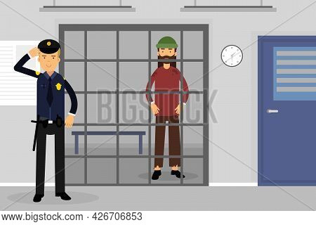 Man Police Officer Or Policeman With Truncheon Watching Arrested In Prison Vector Illustration