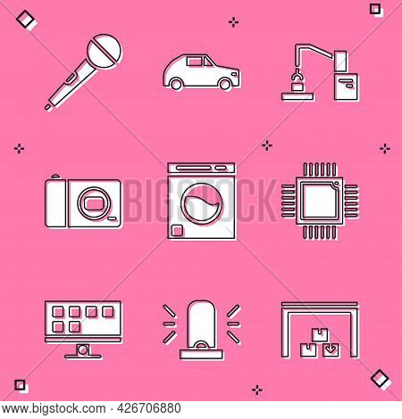 Set Microphone, Car, Robotic Robot Arm Hand Factory, Photo Camera, Washer, Processor With Microcircu