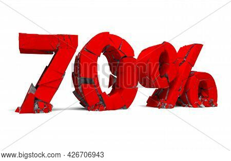 Number 70 In Red Isolated On White And Percentage Sign. Breaking Prices And Promotion.