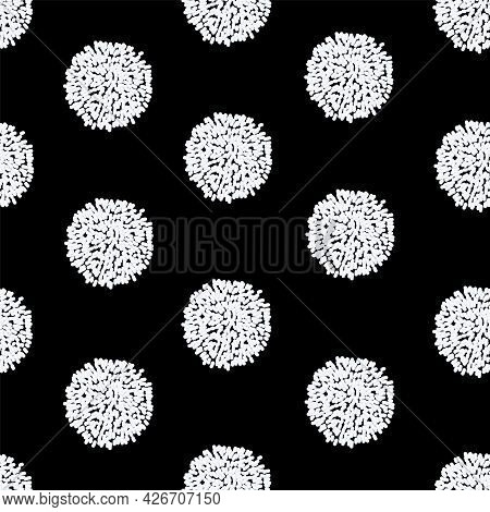 Vector Seamless Pattern White Pompoms On Black Background. Great For Handmade Cards, Invitations, Wa