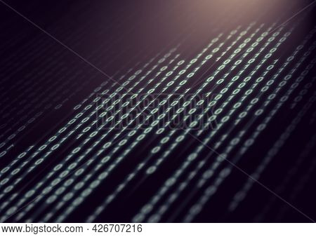 Matrix And Binary Language Abstract Background.technology And Computer Graphic Concept.binary Code C