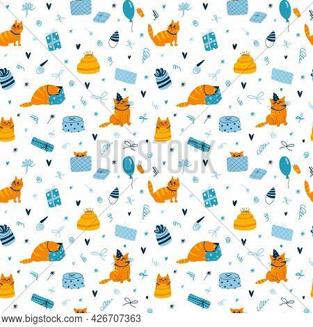 Vector Seamless Pattern With Funny Birthday Cats On White Background. Colorful Wallpaper With Cats,