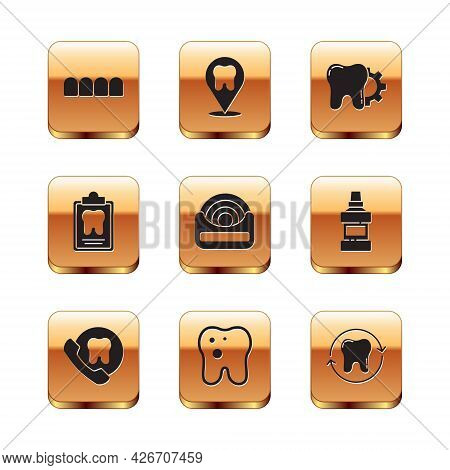 Set Dentures Model, Online Dental Care, Tooth With Caries, Dental Floss, Card, Treatment Procedure,