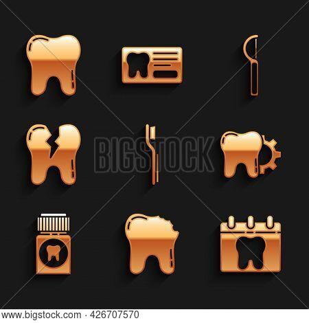 Set Toothbrush, Broken Tooth, Calendar With, Treatment Procedure, Painkiller Tablet, Dental Floss An