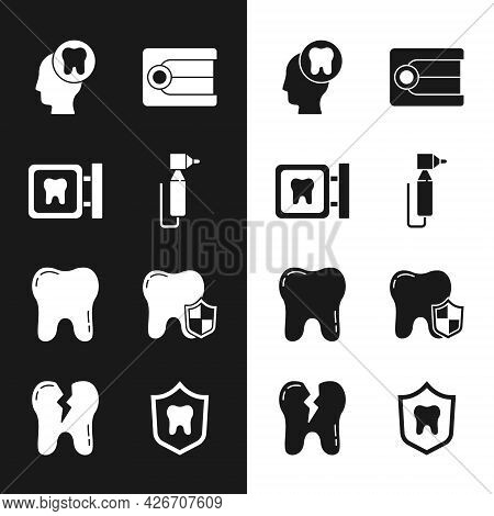 Set Tooth Drill, Dental Clinic Location, Human Head With Tooth, Dentures Model, Protection, And Brok