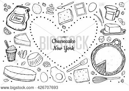 Illustration Cheesecake And Ingredients For Cooking Isolated On White Background.