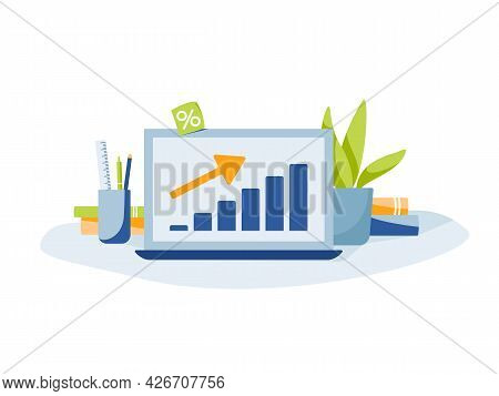 Business Graph. Laptop With Graph And Up Arrow