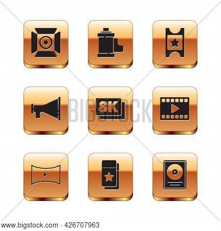 Set Movie Spotlight, Online Play Video, Cinema Ticket, 8k Ultra Hd, Megaphone, Cd Disk Award Frame A