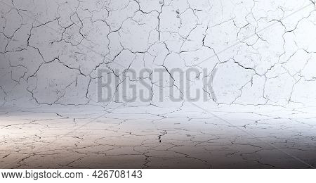 3d Illustration Abstract Background .wall And Cracked Cement Floor Background.spotlight.background E
