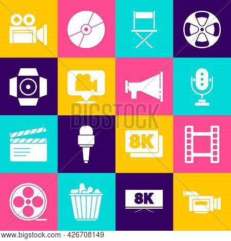 Set Cinema Camera, Play Video, Microphone, Director Movie Chair, Camera And Location, Movie Spotligh