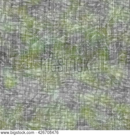 Mottled Blotch Wash Out Linen Background. Hand Painted Farmhouse Cottage Style Seamless Pattern. Mod