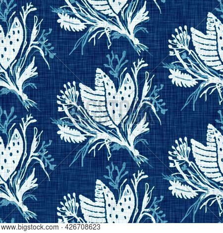 Cyanotypes Blue White Botanical Linen Texture. Faux Photographic Floral Sun Print Effect For Trendy