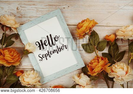 Hello September Typography Text With Flower Decoation On Wooden Background