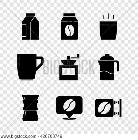 Set Bag Of Coffee Beans, Coffee Cup, Pour Over Maker, Location With, Street Signboard, And Manual Gr