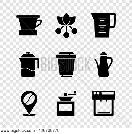 Set V60 Coffee Maker, Coffee Bean, Branch, Jug Glass With Water, Location, Manual Grinder, Machine,