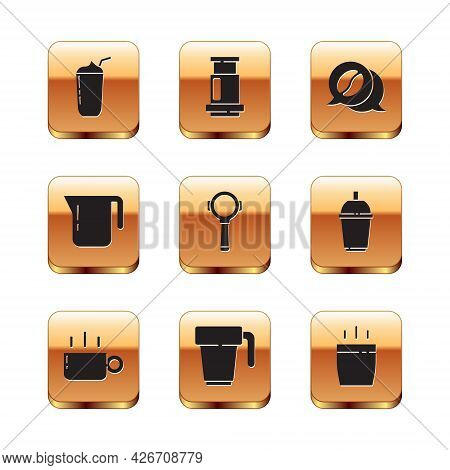 Set Milkshake, Coffee Cup, Filter Holder, Pot, And Conversation, And Aeropress Coffee Icon. Vector