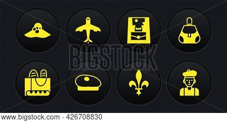 Set French Baguette Bread, Handbag, Beret, Fleur De Lys, Plane, Man And Elegant Women Hat Icon. Vect