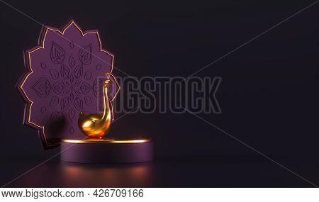 Diwali, Festival Of Lights Podium Scene With 3d Indian Rangoli And Golden Peacock. 3d Rendering Illu