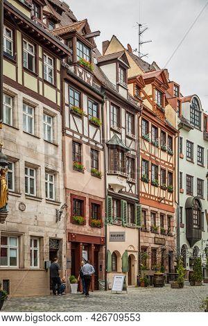 Nuremberg, Germany - May 17, 2016: Old half-timbered houses in Nuremberg