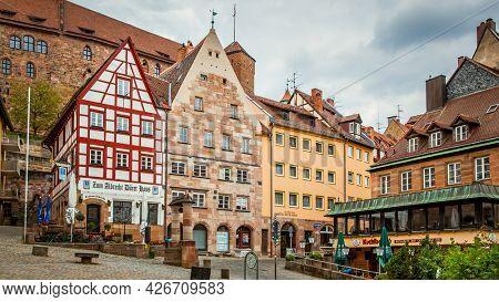 Nuremberg, Germany - May 17, 2016:  Street with colorful houses in Nuremberg