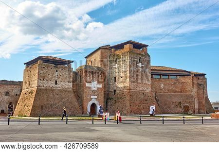 Rimini, Italy - February 25, 2020:  Castel Sismondo on Piazza Malatesta square in old historical and touristic part of Rimini