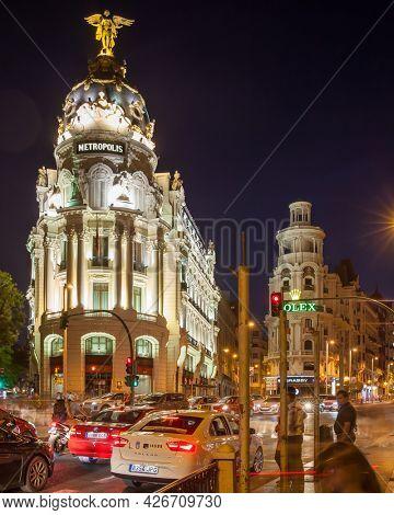 Madrid, Spain - September 04, 2016: Metropolis Building in Madrid at night