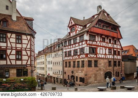 Nuremberg, Germany - May 17, 2016:  Street in the old town of Nuremberg with Albrecht Durer's House