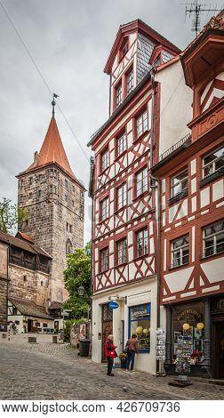 Nuremberg, Germany - May 17, 2016:  Street in the old town of Nuremberg