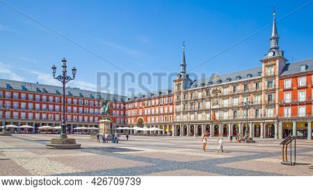 Madrid, Spain - September 6, 2016: Panoramic view of Plaza Mayor in Madrid